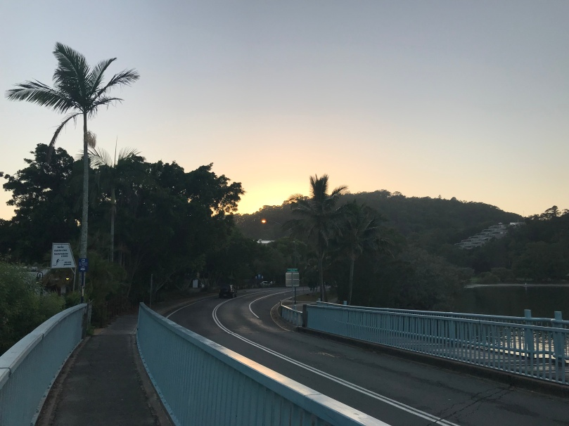 Sunrise Noosa Parade bridge Sofitel Hastings Street running Queensland Australia